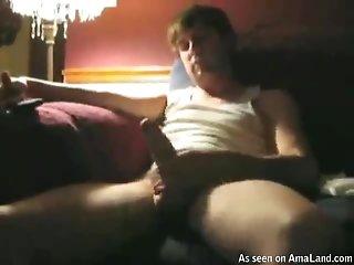 Muscular Guy Strokes His Bushy Dick