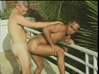 Black Gay And His Bf Enjoy Drilling Each Other's Butts Near A Pool